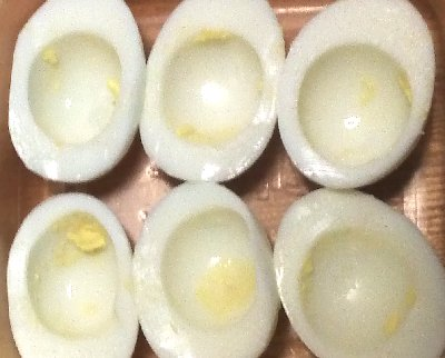 hard boiled egg whites, cut length wise with yolks removed