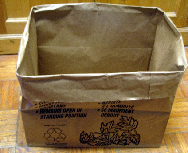 Ppaer bag with the top folded over