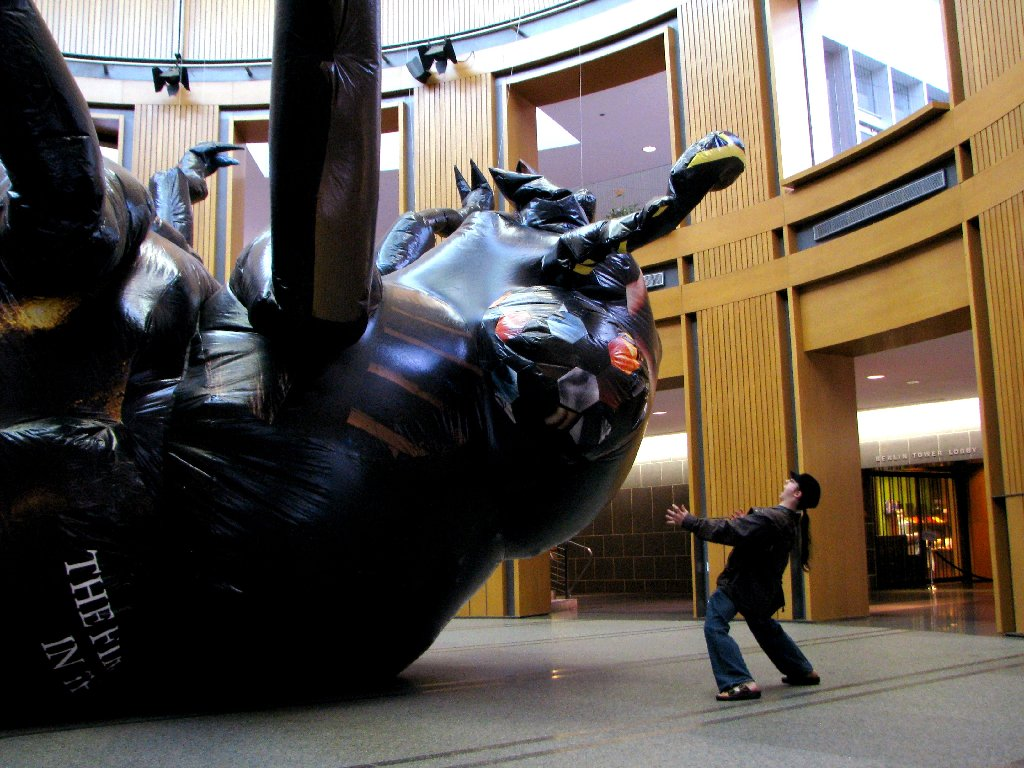 A monstrous upended bug dills the Kitchener City Hall rotunda