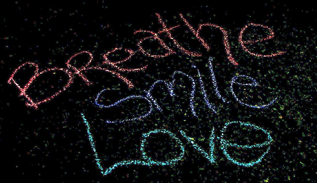 chalk writing on the asphalt: breathe, smile, love