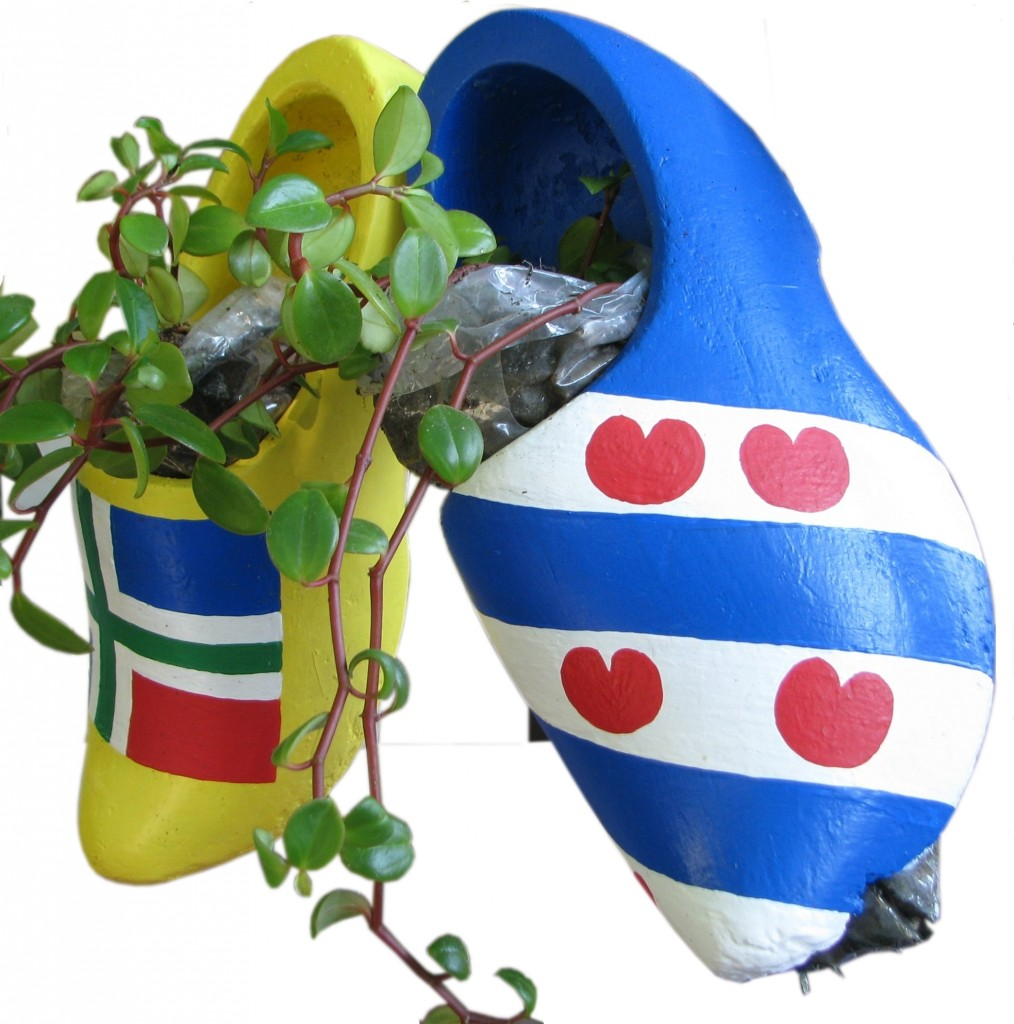 wooden shoe hanging planters
