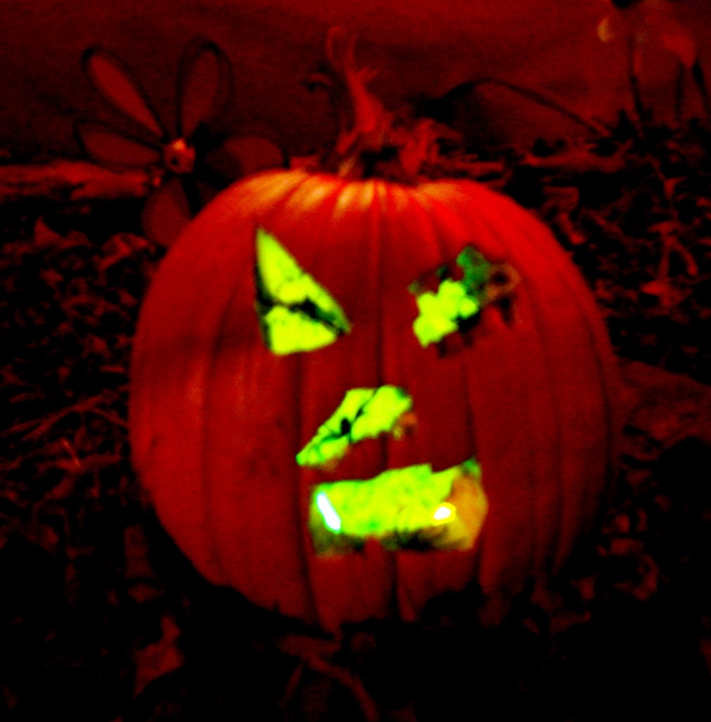 jack-o-lantern lit with a glowstick